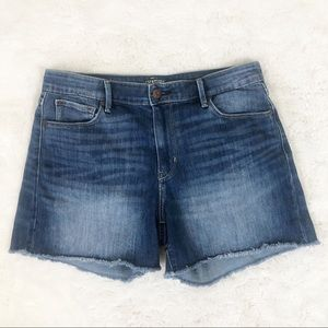 Levi's High Waisted Frayed Hem Denim Shorts